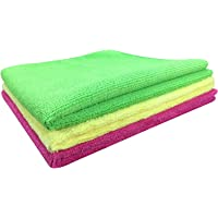 SOFTSPUN Microfiber Cloth - 3 pcs - 40x60 cms - 340 GSM Multicolor - Thick Lint & Streak-Free Multipurpose Cloths - Automotive Microfibre Towels for Car Bike Cleaning Polishing Washing & Detailing