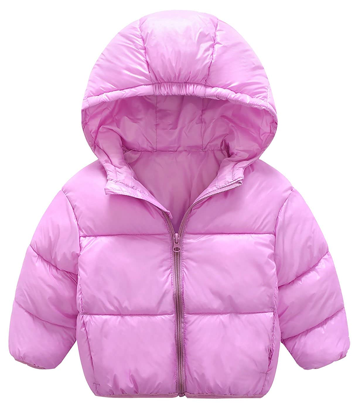 Mengxiaoya Baby Boys Girls Hoodie Down Jacket Lightweight Puffer Coat Windproof Cotton Purple 12-24Months