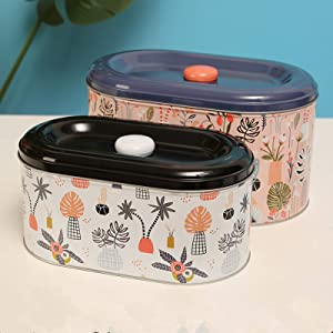 Tin Cookie Snack Jars Biscuit Storage Tin Canister Cookie Jar Home Kitchen Food Gifts Storage Containers with Lid for Biscuit Cookie ChocolatesToddler Food Baby Snacks | Food-Safe… (Rainforest)