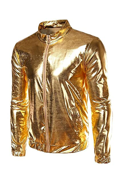 DOOXIUNDI Mens Metallic Gold Front-Zip Jacket