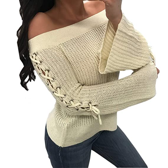 ... Mujeres Off The Shoulder, Long Flare Sleeve Vendaje de suéter Casual Pullover Camisa de Punto Invierno de otoño Absolute: Amazon.es: Ropa y accesorios