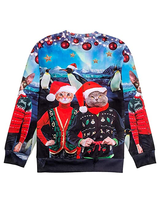 Amazon.com  Ugly Christmas Sweater Style 3D Men Women Cat T-Rex Trump  Pullover Sweatshirt  Clothing c1a597a56