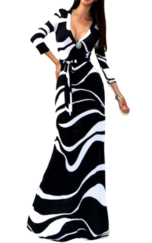 Ecowish Damen Floral Maxi Kleider Strandkleid Lang Party Cocktailkleider V Ausschnitt Langarmes Sommerkleid mit