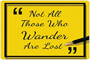 Lunarable Not All Who Wander are Lost Pet Mat for Food and Water, Modern Style Calligraphic Illustration with a Pen, Non-Slip Rubber Mat for Dogs and Cats, 18