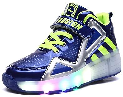 Hoch oben Kinder Junge Mädchen LED Schuhe mit Rollen Herren Skateboard Rollschuhe Damen mit ein Rad 7 Farbe Farbwechsel Sneaker Wanderschuh xVcKTIRs