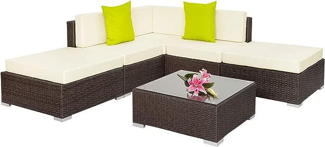 TecTake Aluminio POLIRATÁN Conjunto TRESILLO Muebles DE RATÁN Conjunto para JARDÍN Incl. Fijaciones (MARRÓN Antiguo | No. 401813): Amazon.es: Jardín