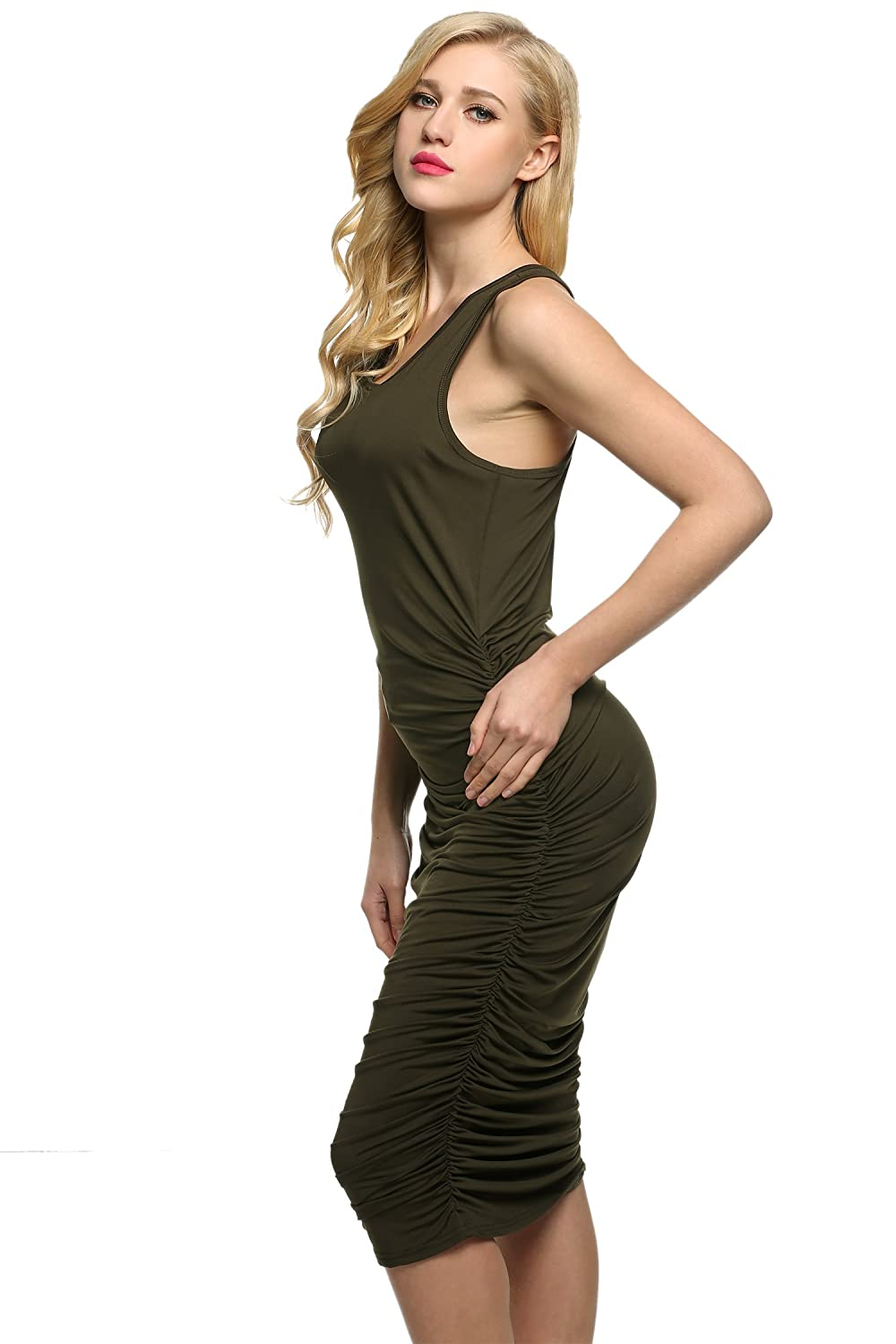 Caeasar Damen Stretch kleid ärmlos Wickelkleid Bodycon Etuikleid ...