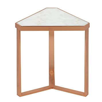 Kate And Laurel Vermeer Marble Triangle End Table, Rose Gold