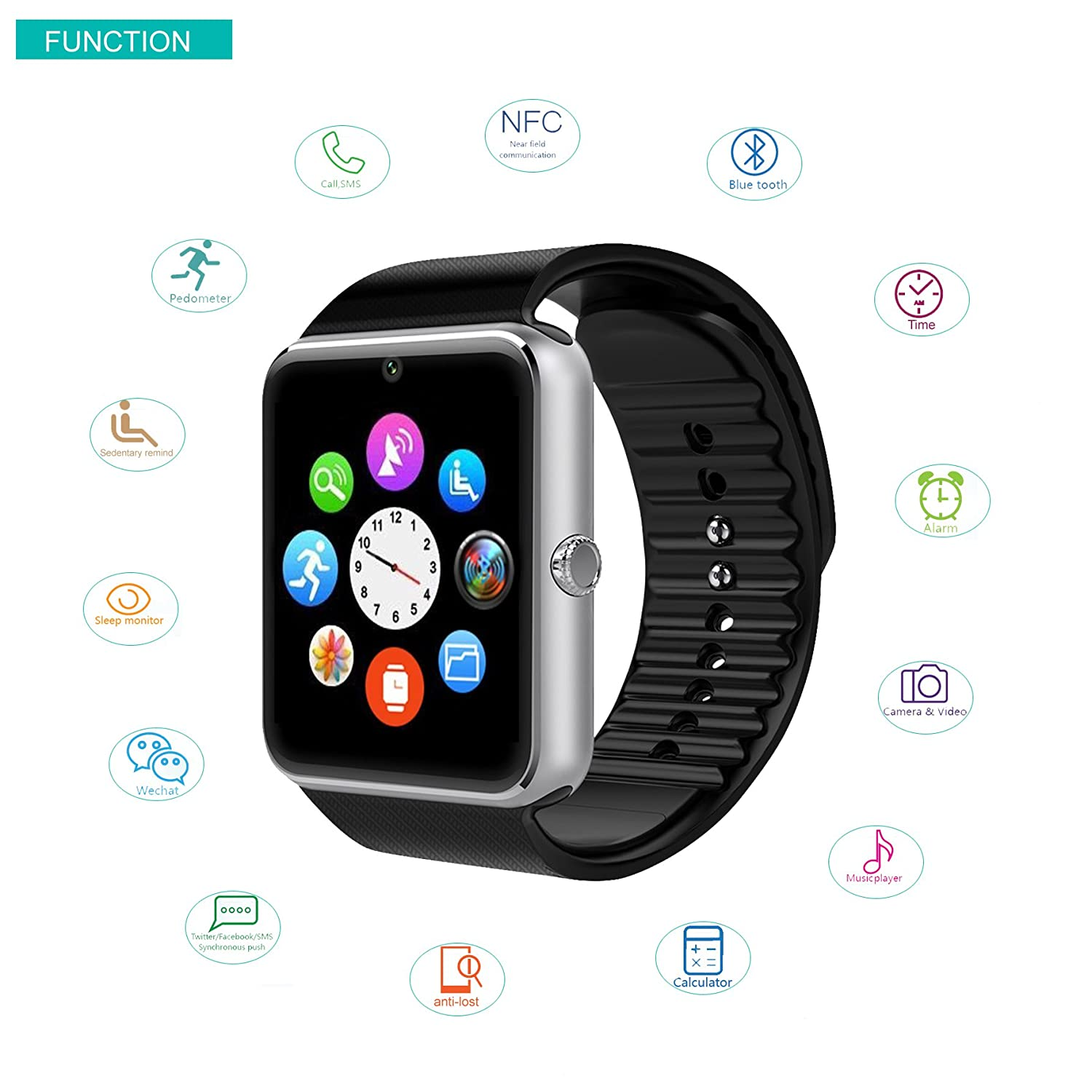 Willful SW016 Bluetooth Smart Watch with Camera SIM Card Slot TF