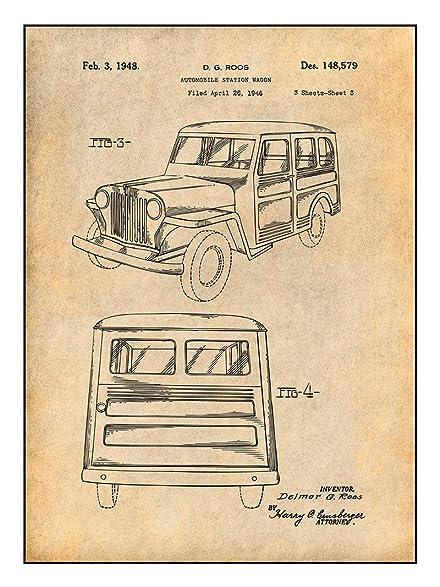 Amazon 1946 Willys Jeep Station Wagon Patent Print Art Poster