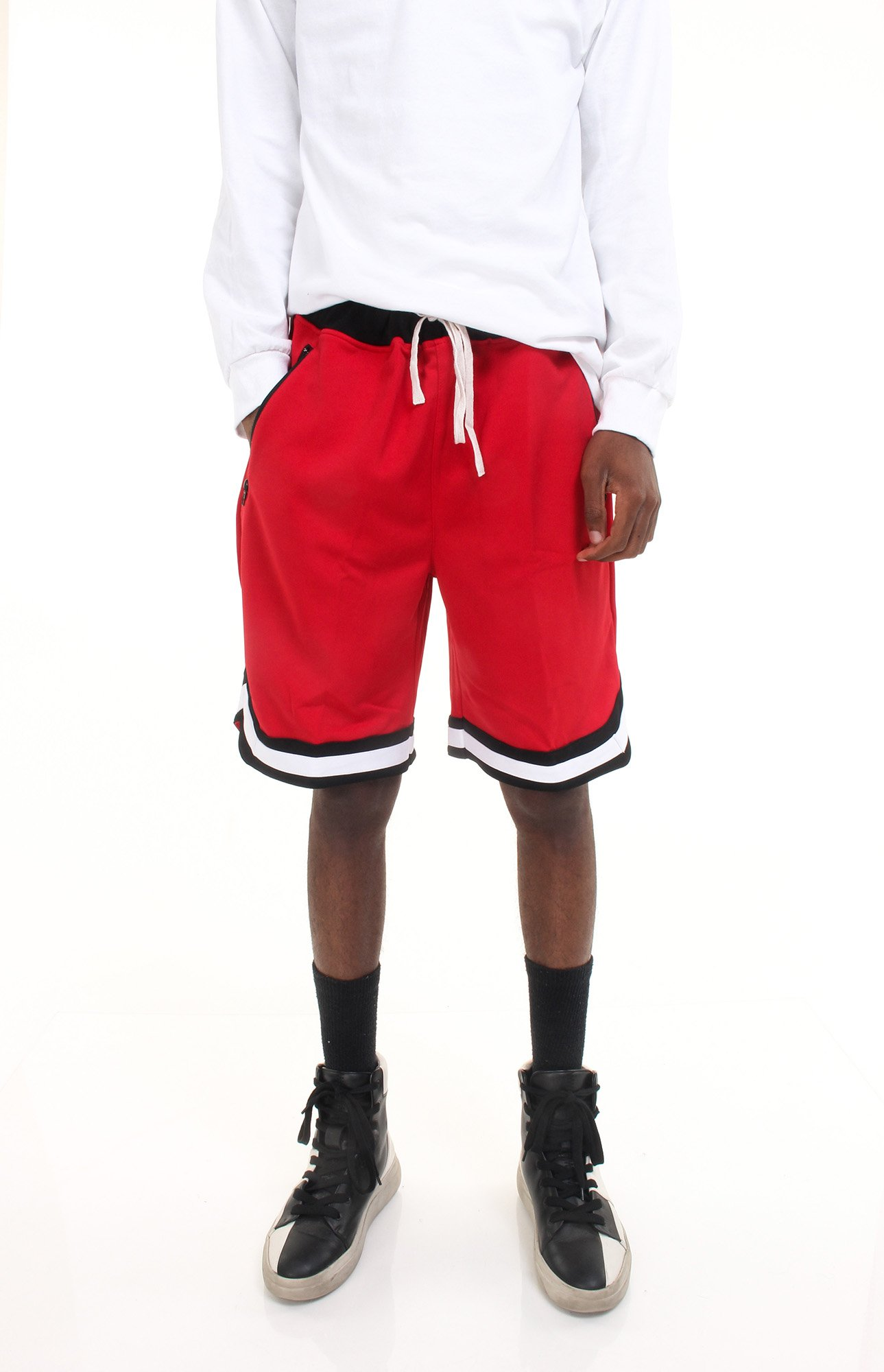 Skywear Retro Striped Shorts, Red/Black S