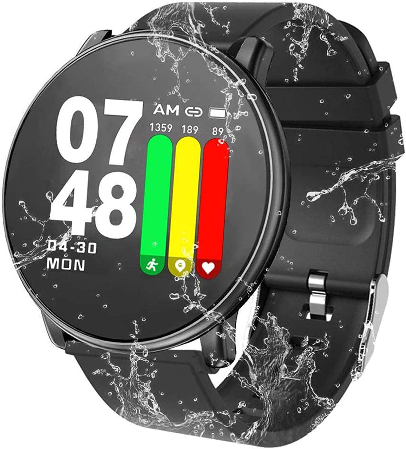 Smart Watch Water Resistant Fitness Tracker with Heart Rate Monitor Sleep Monitor Calorie Pedometer Long Battery Life Compatible with Android & iOS Smartphones for Men Women Kids