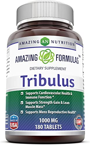 Amazing Formulas Tribulus Dietary Supplement – 1000MG – 180 Tablet per Bottle Standardized to Contain Min. 45 Saponins – Supports Lean Muscle Mass, Promotes Cardiovascular Health,