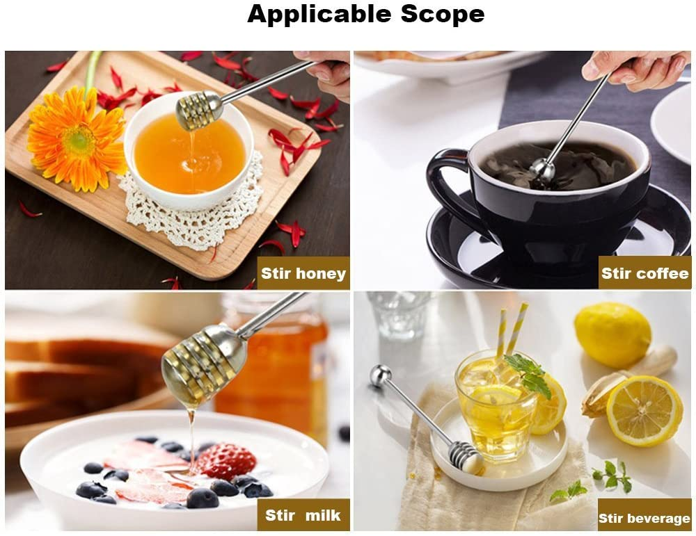 1 PC Stainless Steel Honey Dipper Long Handle Honey and Syrup Dipper Stirring Stick Spoon Server Dessert Tool