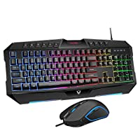 PICTEK RGB Backlit Wired Gaming Keyboard Mouse Combo