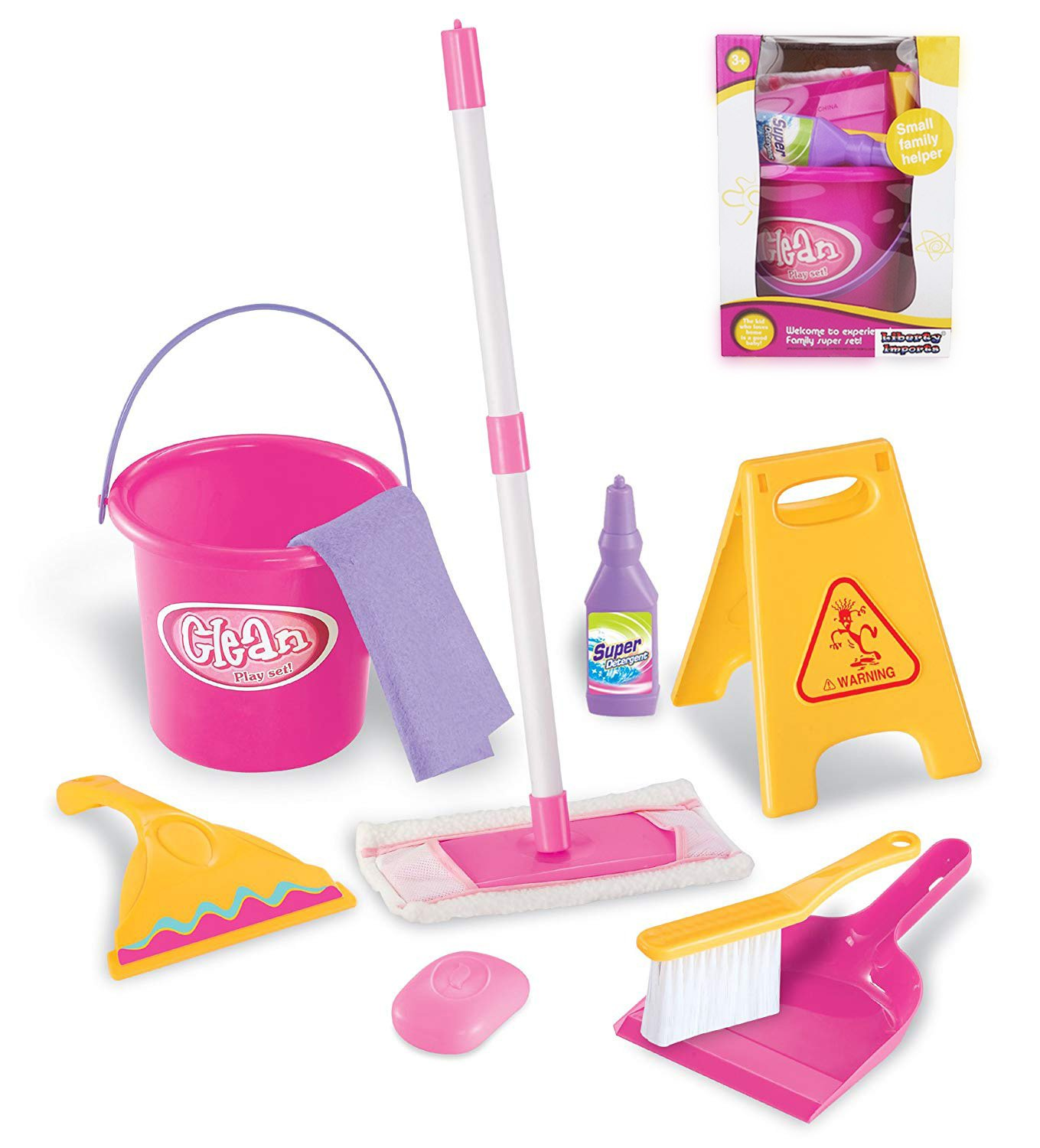 Liberty Imports Little Helper Pretend Play Kids Toy Cleaning Supplies Set with Mop, Bucket, and Accessories by Liberty Imports
