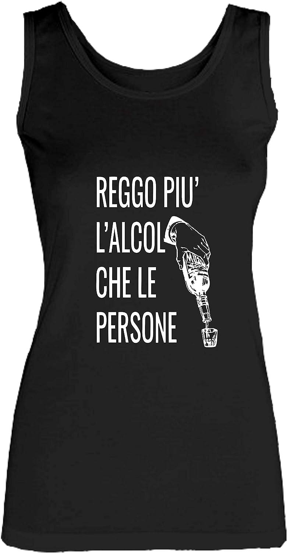 novit/à VIP Humor Divertenti Made in Italy REGGO Piu LALCOOL Social Crazy Canotta Donna Cotone Basic Super vestibilit/à Top qualit/à