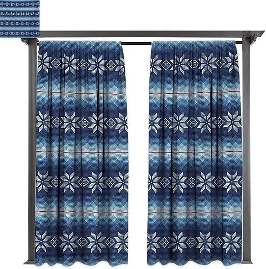 bybyhome Cortina extra ancha para exteriores con diseño de copos de invierno con peine hexagonal estilo mosaico para celebración de Año Nuevo, apto para porche frontal, pergola, cabana, patio cubierto: Amazon.es: Jardín