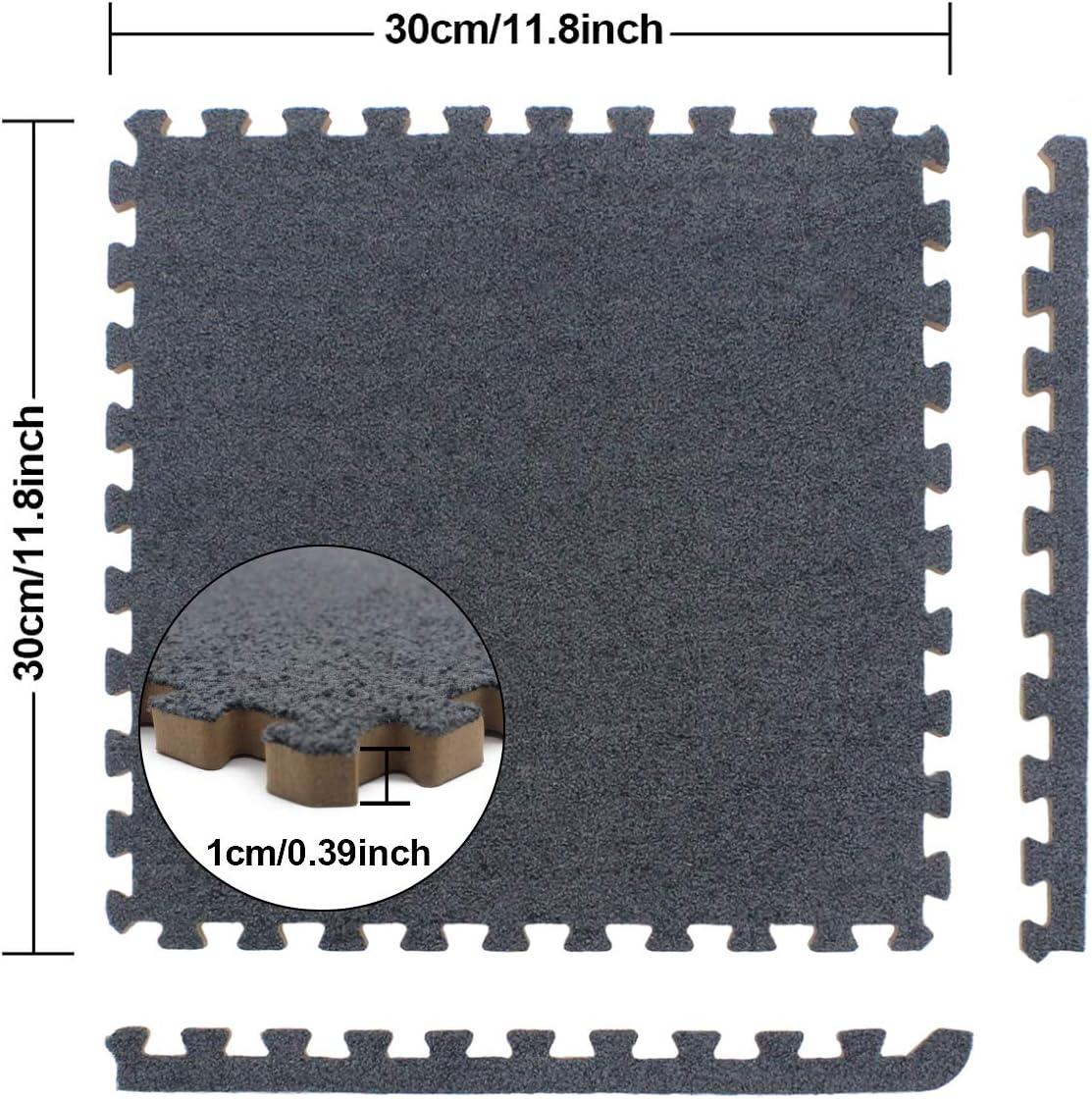9 Pezzi 30cm x 30cm UMI By  1x 1 Schiume per Piastrelle ad Incastro Scamosciato