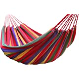 Outdoor Indoor Portable Furniture Thickening Canvas Cotton Fabric Cloth Stripe Hammock Swing Hang Sleeping Bed for Camp Travel Camping Travelling Beach Garden