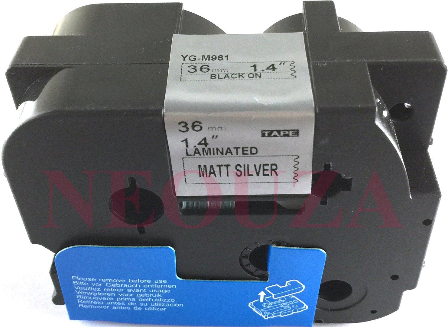 nero//argento opaco laminato Label-Brother-Nastro etichettatrice compatibile per Brother P-Touch Tz M961 Tze M961 36 x 8 m Colore