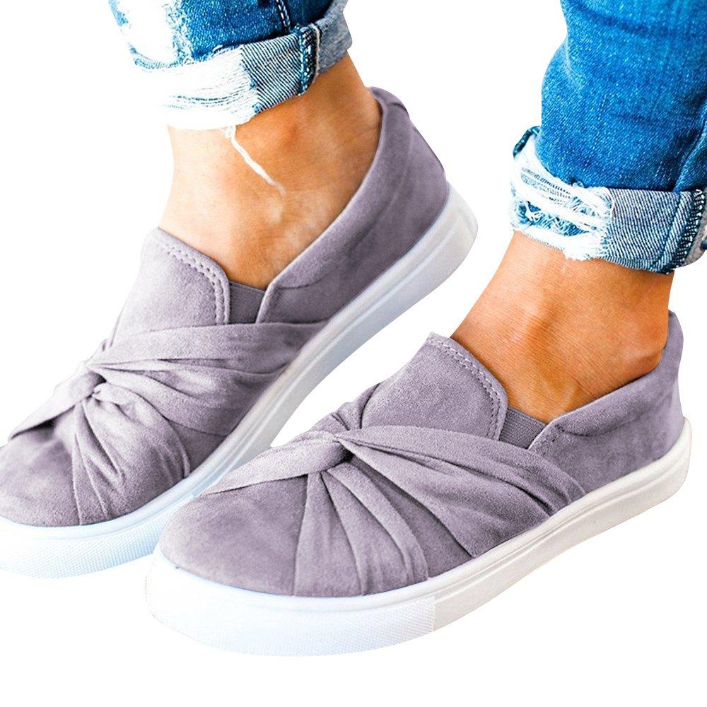 Blivener Women's Loafers Slip On Flatform Top Ruched Knot Fashion Sneaker 03Grey US8.5 by Blivener (Image #3)