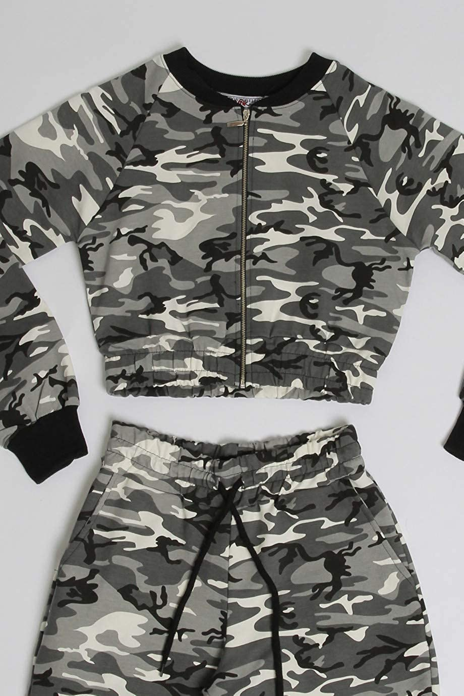 Ladies Camo Cropped Jacket and Cargo Jogger Set US Size 2-10