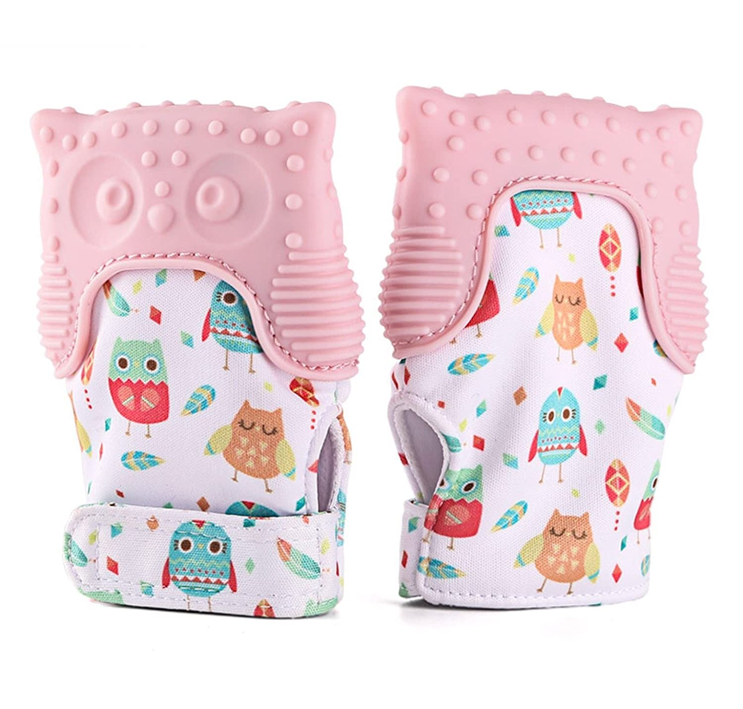 APL Teething Mitten Owl teething toy for babies Self-Soothing Pain Relief and teething BPA Free Safe Good Grade Teething Mitt for 3 Months Pink, One Mitten