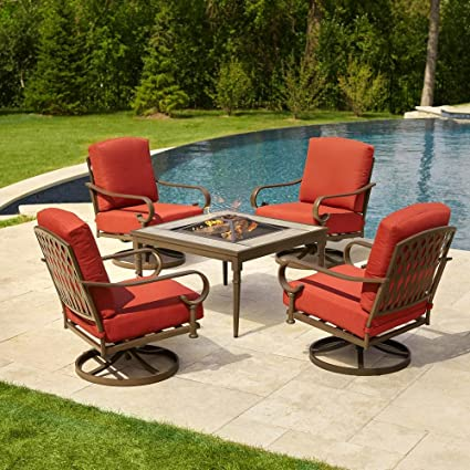 Hampton Bay Oak Cliff 5 Piece Metal Patio Fire Pit Conversation Set With  Chili Cushions