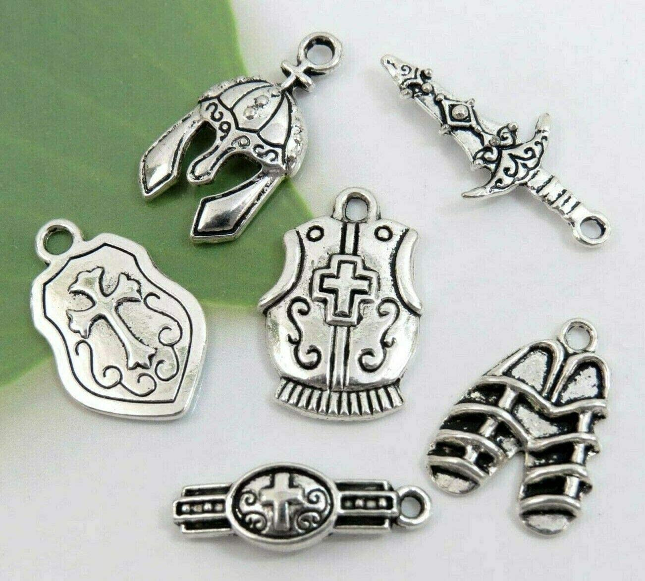 Amazon Com 6 Armor Of God Charms Antique Silver Mixed Collection Lot Set Christian Theme Charms Jewelry Bracelets