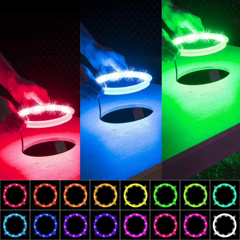 1 pair LED Cornhole Light 16 Color Change With Remote Control Corn Hole Bag Toss