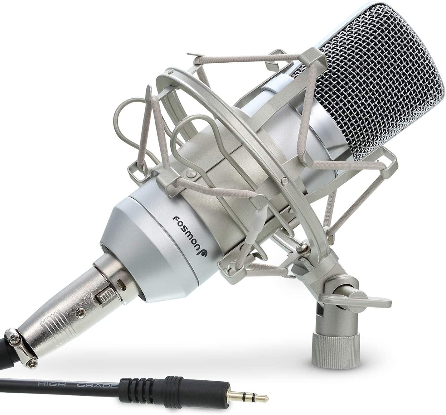 Fosmon Cardioid Condenser Microphone XLR, (Noise Deduction) 360 Degree Uni-Directional Voice Recording with Mount & Windscreen for PC, Gaming, Broadcasting, Podcasting, Studio, YouTube & Tiktok Video