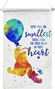 Winnie The Pooh Quote Sometimes The Smallest Things Classic Poster Canvas Wall Art,Pooh Quotes Wall Decor Canvas Poster Hanger Scroll Hanging Poster Canvas Wall Art Gifts for Home Kids Room Nursery Bedroom Playroom Decor 12 x 20 Inch
