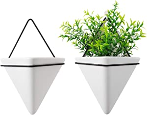 T4U Triangle Wall Planter Indoor, Set of 2 Ceramic Hanging Wall Planter, Geometric Succulent Air Plant Holder Vase Flower Cactus Faux Plants Containers, White Modern Decor for Home and Office