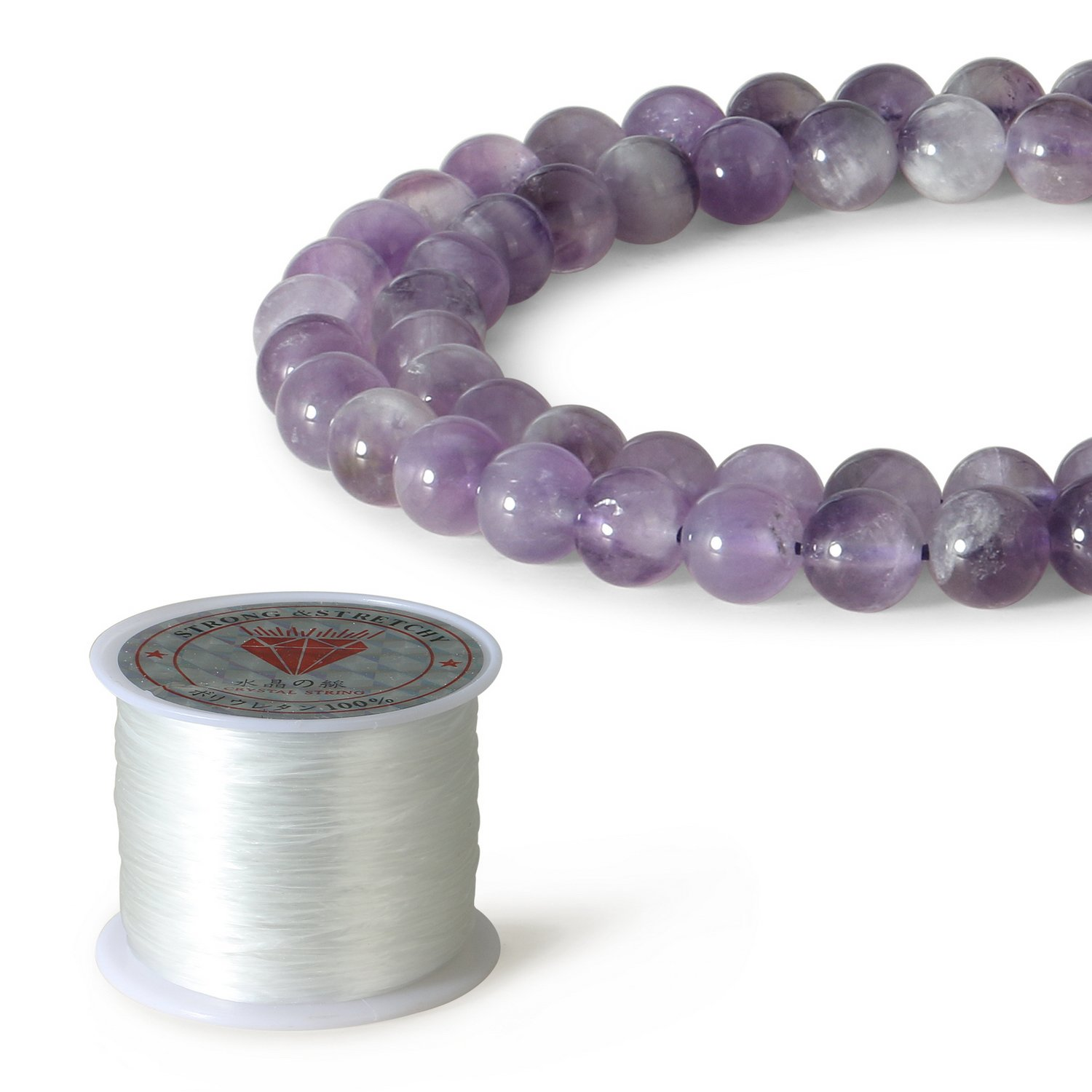 CHARMINGO 8mm Natural Amethyst Purple Quartz Gemstone Round Loose Beads for Jewelry Making (45-48pcs)