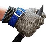 ConPush Guanti Antitaglio Acciaio Inox Rete Metallica Guanto per cucina e macellai e pesca, misura L