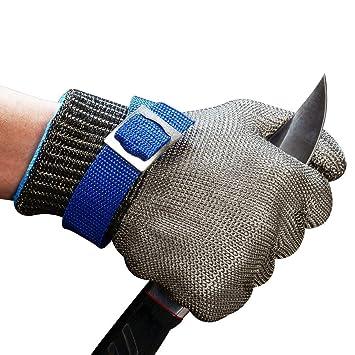 ConPush Guantes Anticorte Seguridad Corte prueba puñalada resistente acero inoxidable de malla metálica carnicero guante de color azul talla L nivel 5