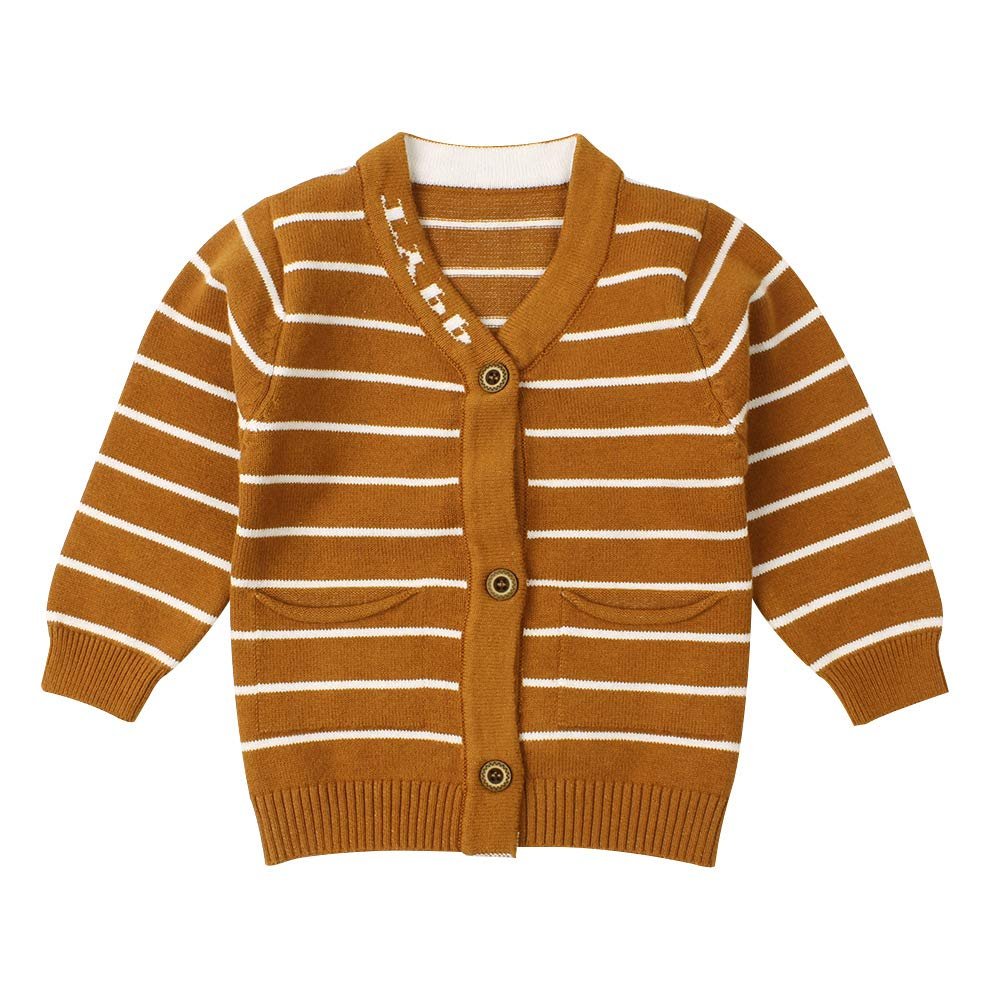 WeddingPach Newborn Boys Sweater Infant Baby Striped Outfit Knitted Cardigans for 0-9M