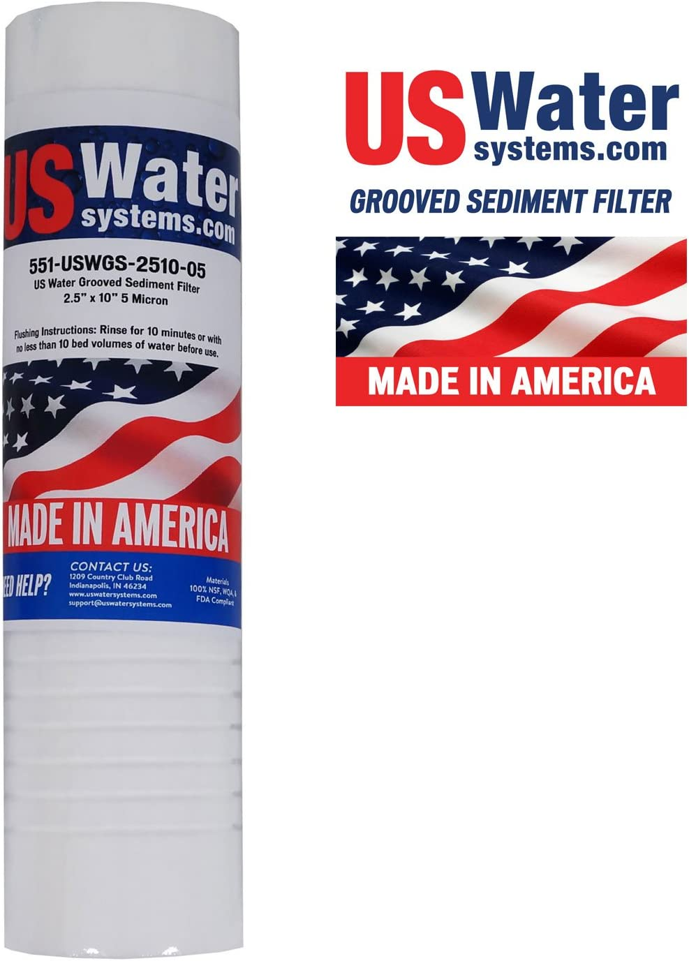 "US Water Grooved Sediment Depth Filter 2.5"" x 10"" 5 Micron 