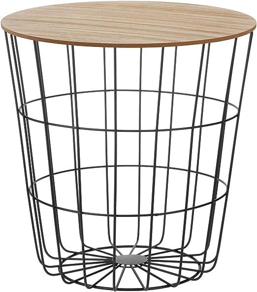 Mesa auxiliar con extraíble tapa de madera cesta mesa bandeja mesa ...