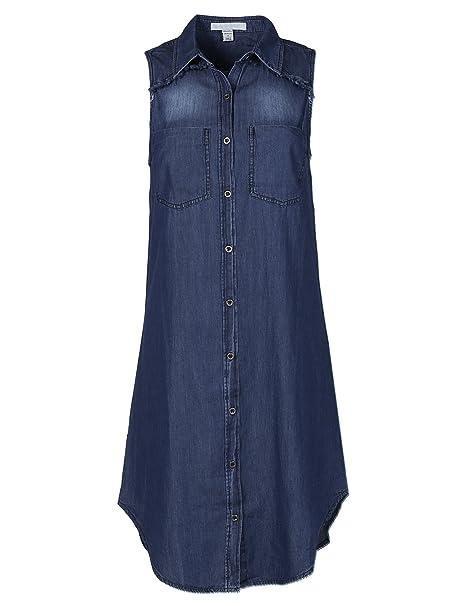aec21bba8a7 Soft Denim Chambray Sleeveless Fringe Button Down Dress Shirt Top Dark S