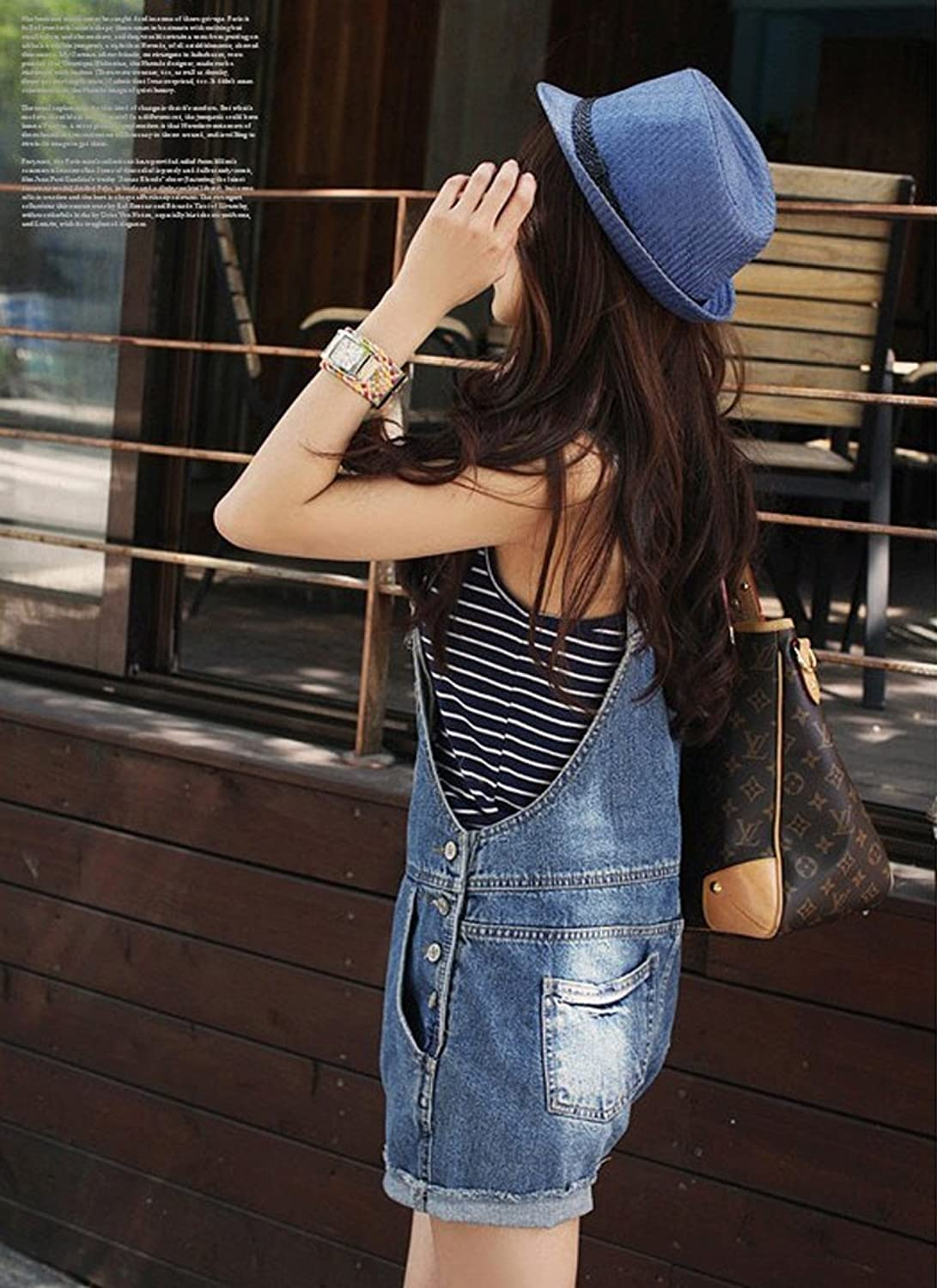 Easy Korean girl Blue Mid Waist Ripped Denim Hole Jumpsuit Romper Crimping Short