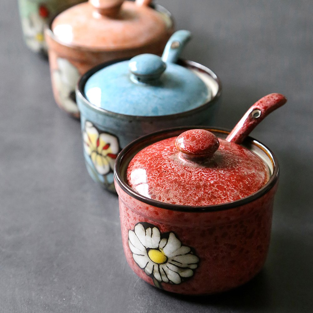 Ceramics Retro Flower Sugar Bowl with Lid and Spoon 5.5 Ounces Blue by dodola (Image #3)