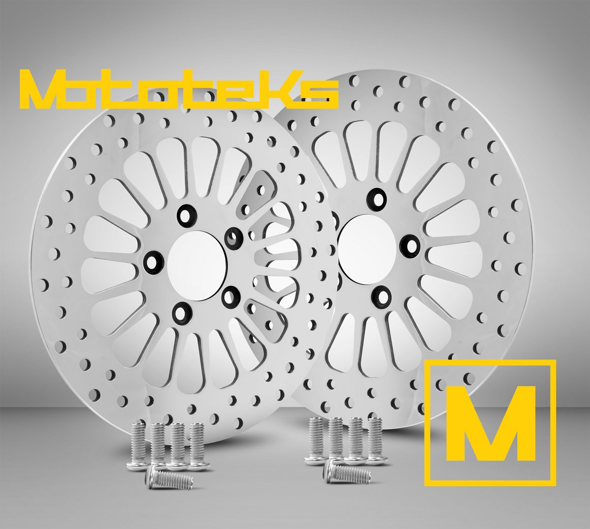 11.8 Front Brake Stainless Steel Rotors w/ Hardware for Harley Davidson Touring Bagger Models fits 2008 Above by Mototeks, Inc.