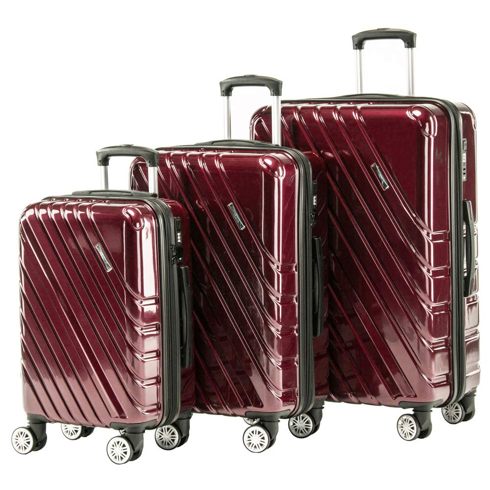 Expandable Spinner Luggage Set Lightweight 3 piece Hardside Suitcase set with TSA lock 20inch carry on 24inch 28inch (RED) by Pianeta