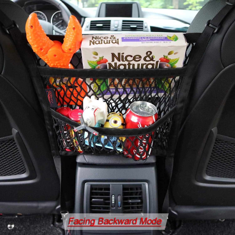 2 peque/ños y 2 grandes desechos peque/ños cigarrillos Gaosheng 4 piezas de red de almacenamiento Organizador de malla para coche negro asiento lateral del coche para tel/éfono m/óvil
