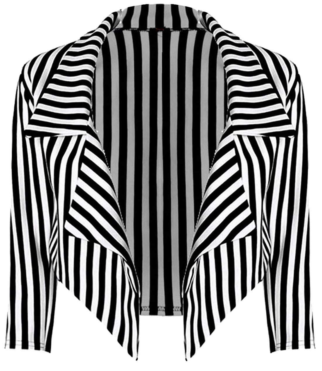 MA ONLINE Ladies Halloween Fancy Striped Cropped Blazer Full Length Leggings Women Peter Pan Dress Striped Blazer Small/Medium US 4-6 by MA ONLINE (Image #1)