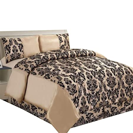 New Luxury Damask Flock Complete Bedding Duvet-Cover-Set In Double/&King Size