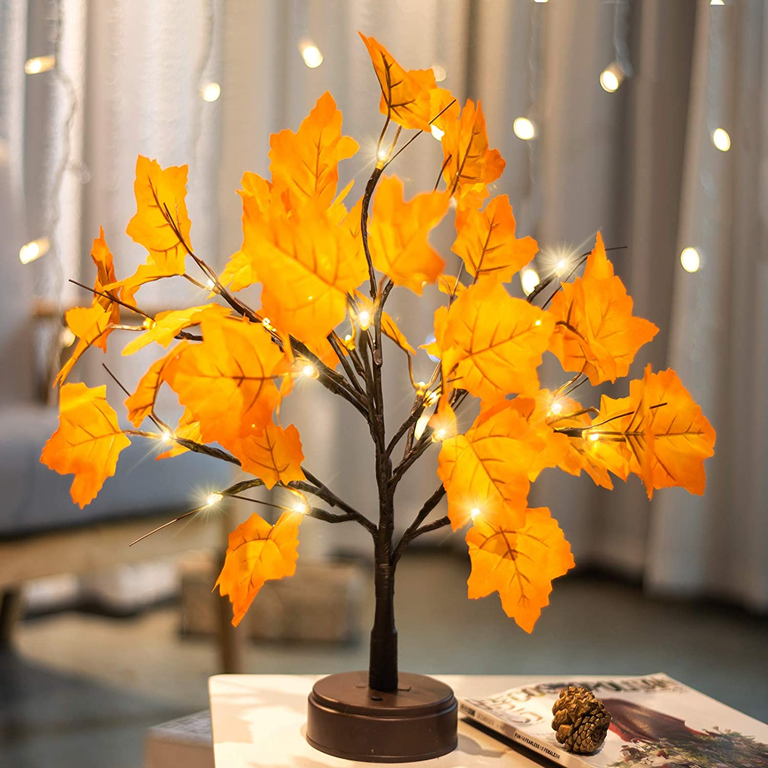 Pooqla Lighted Maple Tree Artificial Fall Tree Light 24 LED Maple Leaves Autumn Tree Light Tabletop Decor for Thanksgiving Christmas Party Home Decoration Warm White