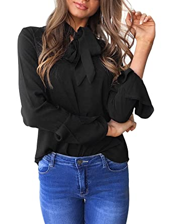 43754305c60d7 Aitos Womens Long Sleeve Blouses Bow Ties Neck Casual Chiffon Shirts Tops  Black L  Amazon.co.uk  Clothing